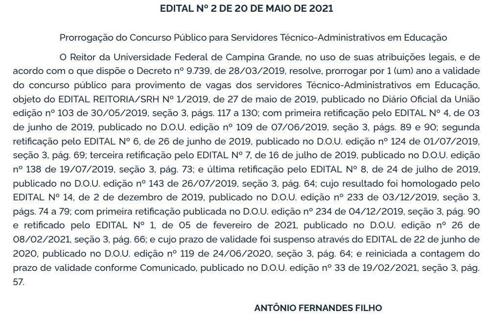Concurso UFCG Técnico-Administrativo: validade prorrogada