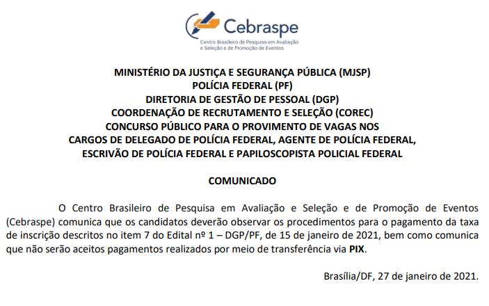 concurso polícia federal não aceita pagamento da taxa de inscricao pelo pix