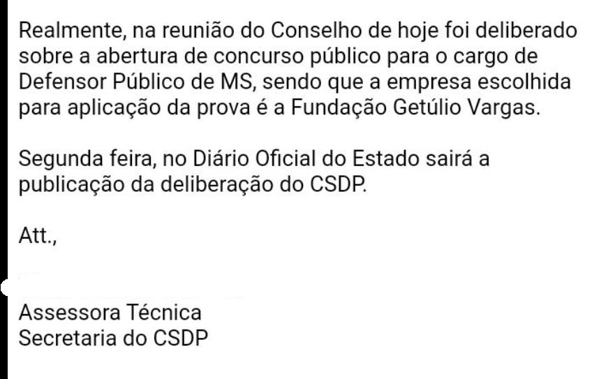 Concurso DPE MS