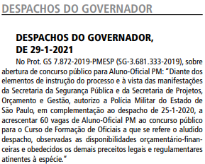 Concurso PM SP Oficial: governo autoriza acréscimo de 60 vagas!