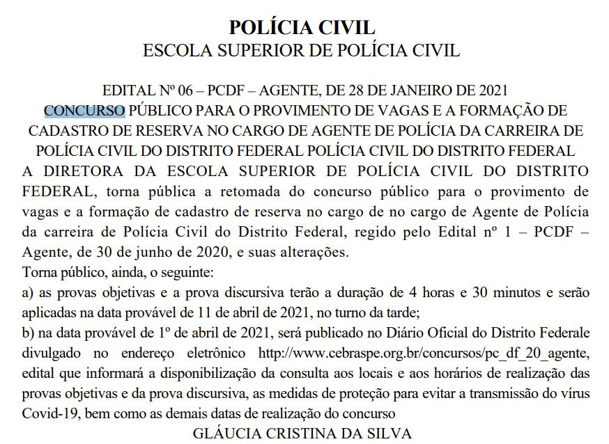 Concurso PCDF Agente retomado.