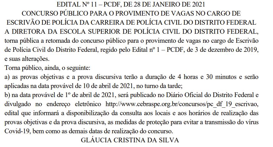 Concurso PCDF Escrivão: provas objetivas e discursiva serão aplicadas em abril de 2021
