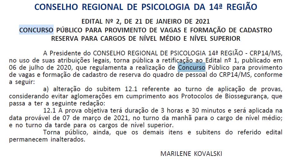Concurso CRP 14 - Concurso CRP MS
