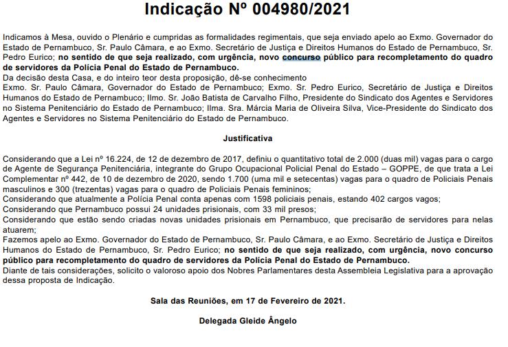 Concurso Polícia Penal PE: solicitação de novo concurso