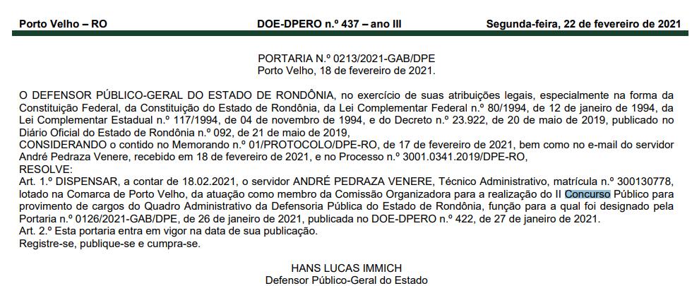 Concurso DPE RO: Alteração da comissão organizadora