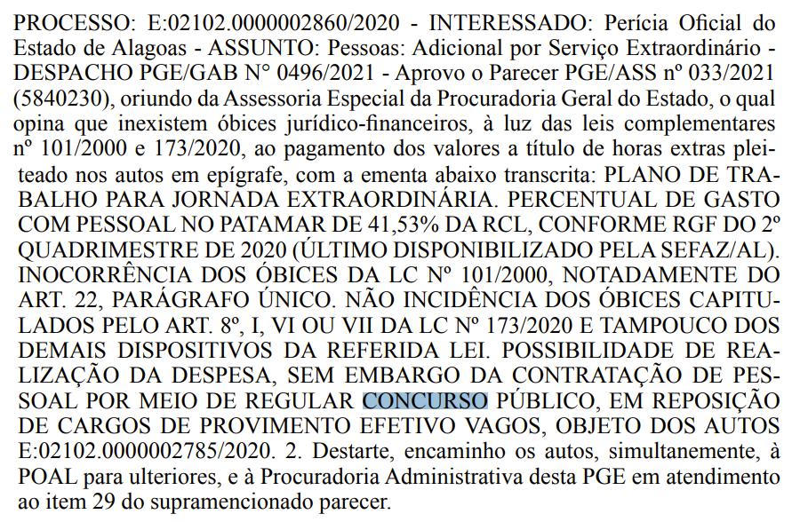 Concurso Perícia Oficial AL tem autorização orçamentária da PGE AL.