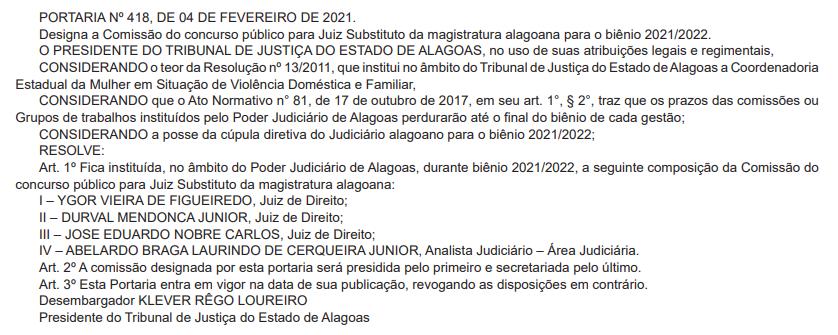 Concurso TJ AL Juiz