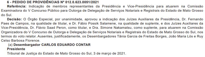 Concurso TJ MS Cartórios: Órgão Especial aprova indicações para comissão