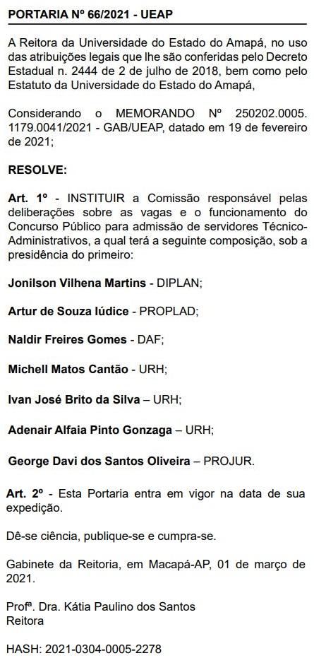 Concurso UEAP: comissão formada para Técnico-Administrativo