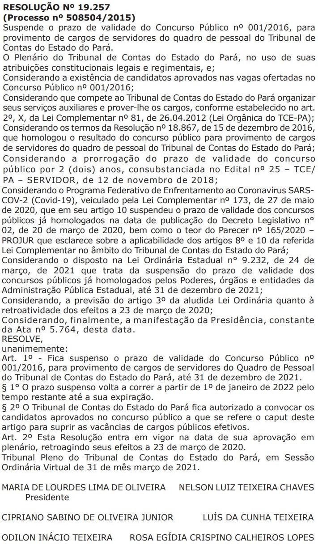 Concurso TCE PA: prazo de validade suspenso