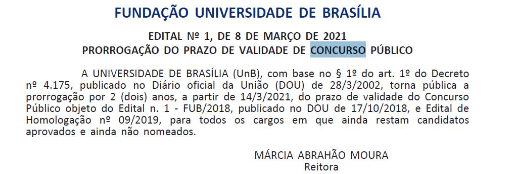 Concurso UnB/FUB: validade prorrogada.