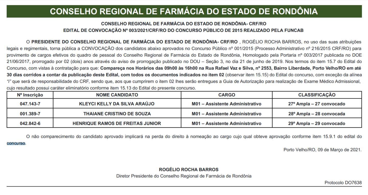 Concurso CRF RO