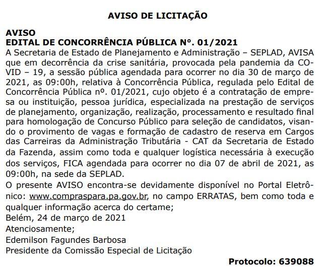 Concurso SEFA PA: aviso de licitação