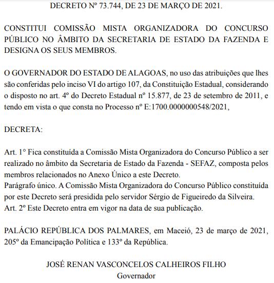 Concurso Sefaz AL: comissão formada.