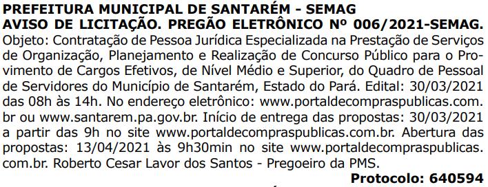 Concurso Prefeitura de Santarem