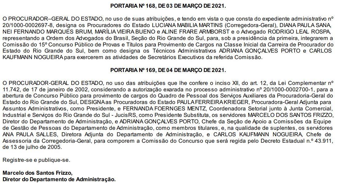 Concurso PGE RS: comissões formadas