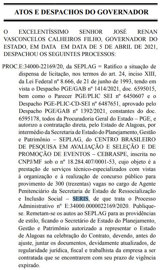 Concurso Polícia Penal AL: ato do governador autoriza contratação do Cebraspe