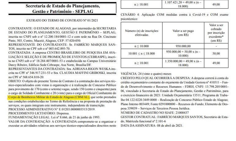 Concurso Bombeiro AL oficializa contratação do Cebraspe como organizador.