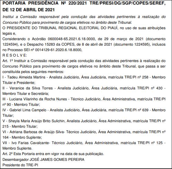 Concurso TRE PI comissão formada