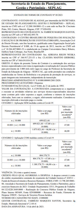 Concurso Seduc AL: extrato de contrato com o Cebraspe