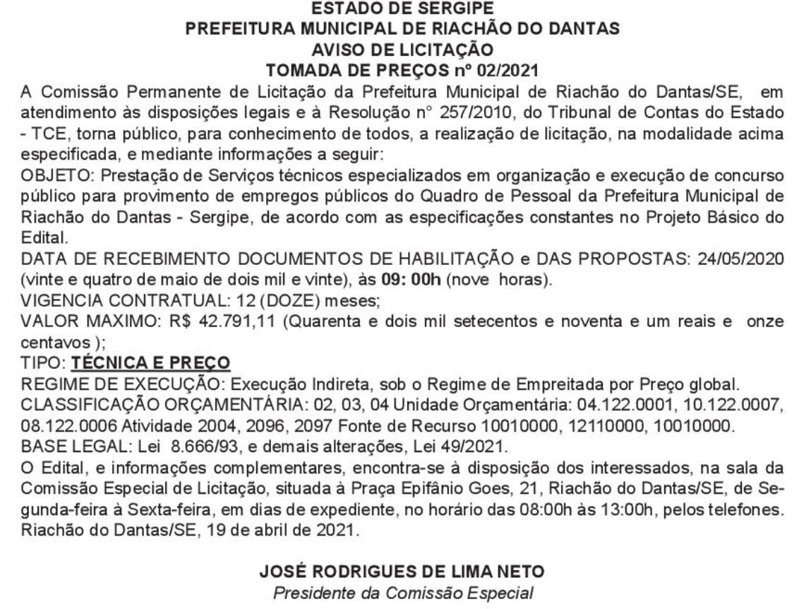Concurso Riachão do Dantas SE: banca em definição. VEJA!