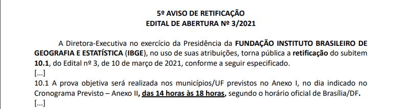 Concurso IBGE alteração horário das provas
