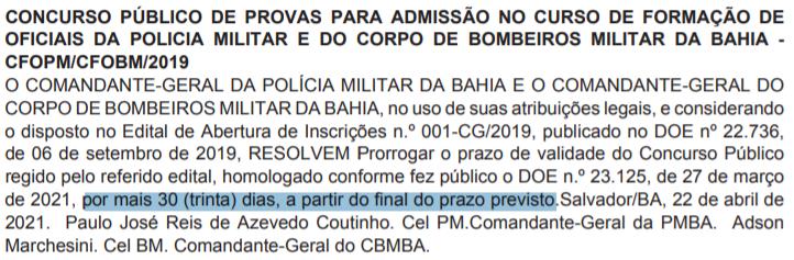 Concurso PM BA / Concurso CBM BA
