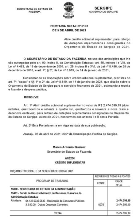 Concurso Polícia Civil SE: governo abre crédito suplementar