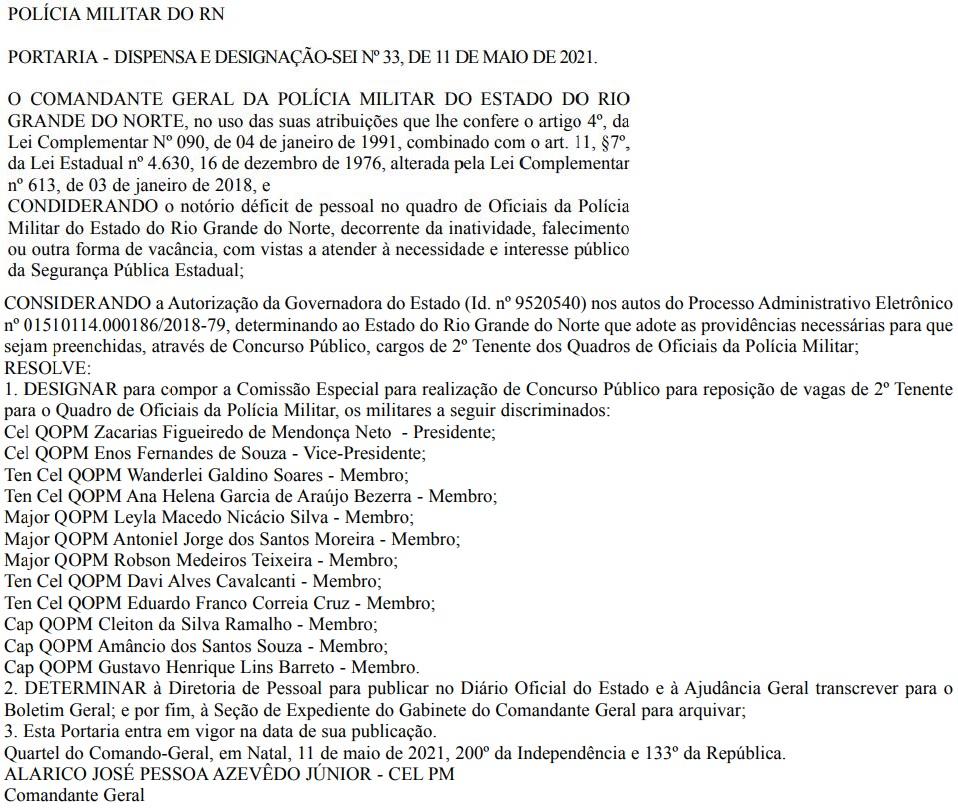 Concurso PM RN: comissão formada para cargos de 2º tenente