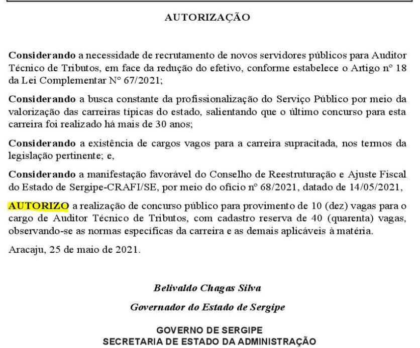 Concurso SEFAZ SE autorizado pelo governador do estado