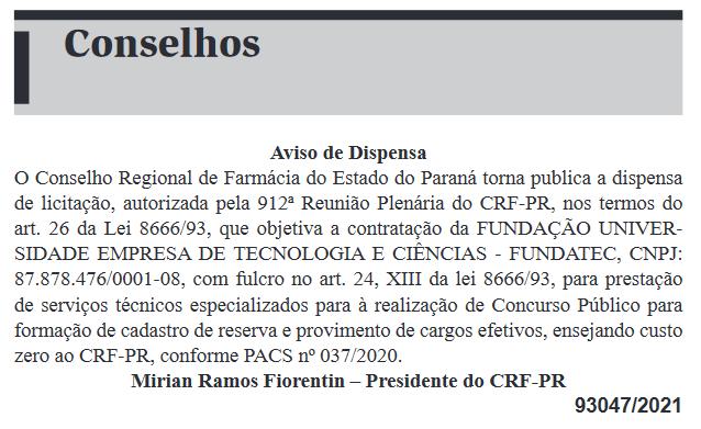 Concurso CRF PR: banca definida