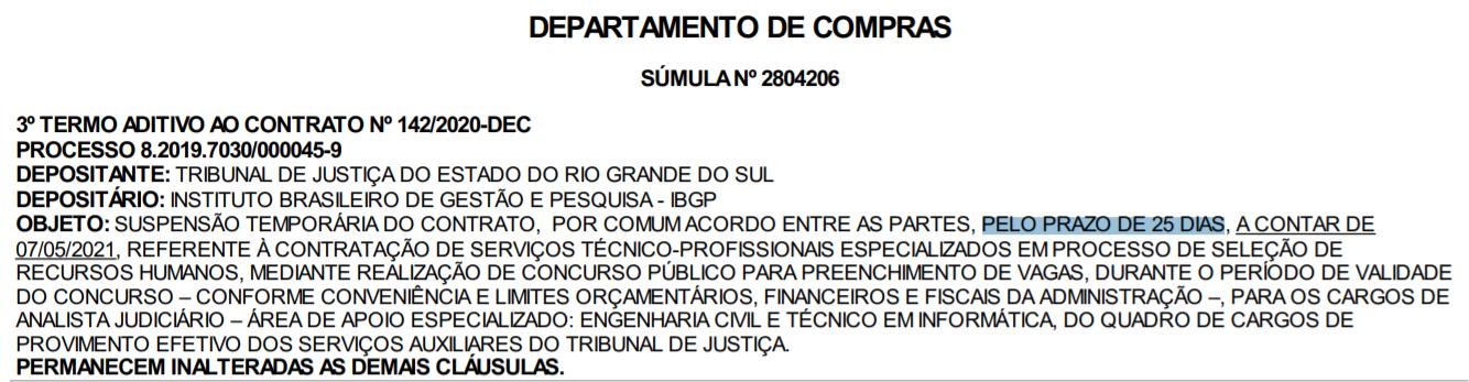 Concurso TJ RS: contrato entre banca e TJ RS suspenso