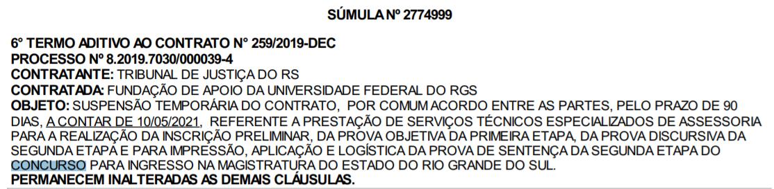 Concurso TJ RS Juiz: contrato entre banca e TJ RS suspenso