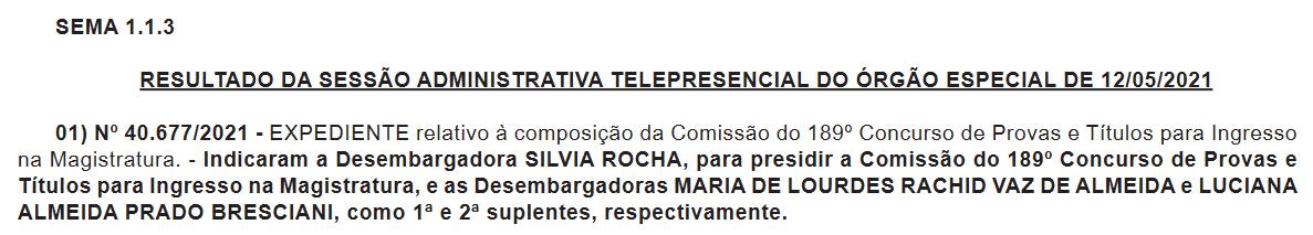 Concurso TJ SP Juiz: escolha da comissão.