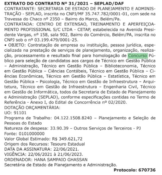 Concurso SEPLAD PA: extrato do contrato