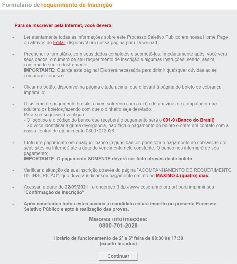 Concurso Banco do Brasil: requerimento de inscrição