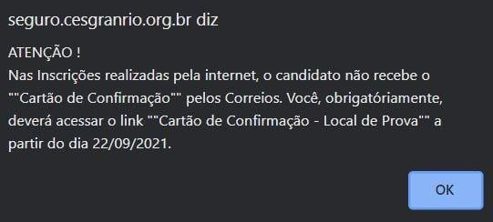 Concurso Banco do Brasil: mensagem de alerta inscrição bb 2021