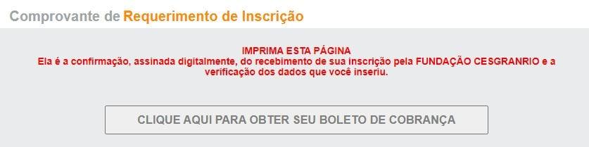 Concurso Banco do Brasil: comprovante requerimento de inscrição