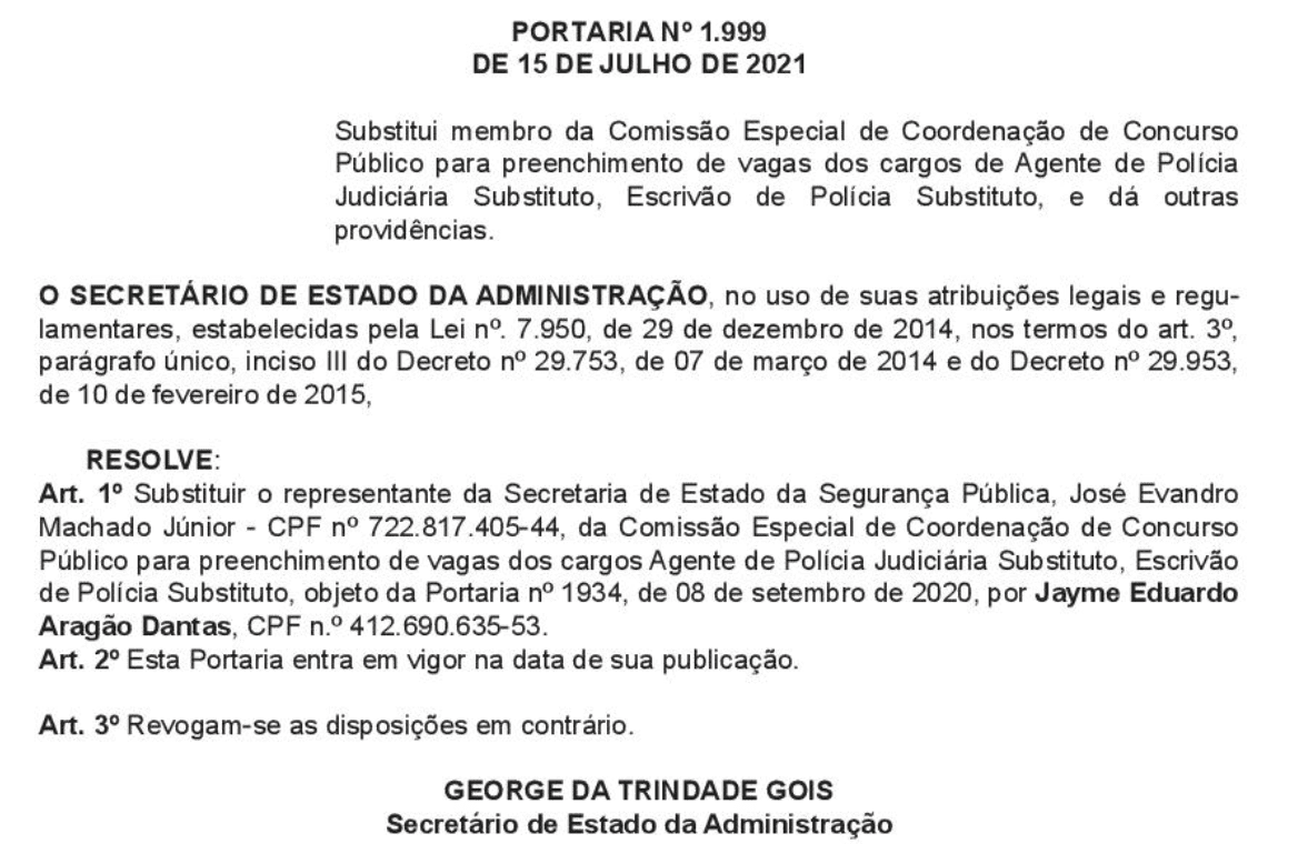 Concurso Polícia Civil SE tem nova relação de membros.