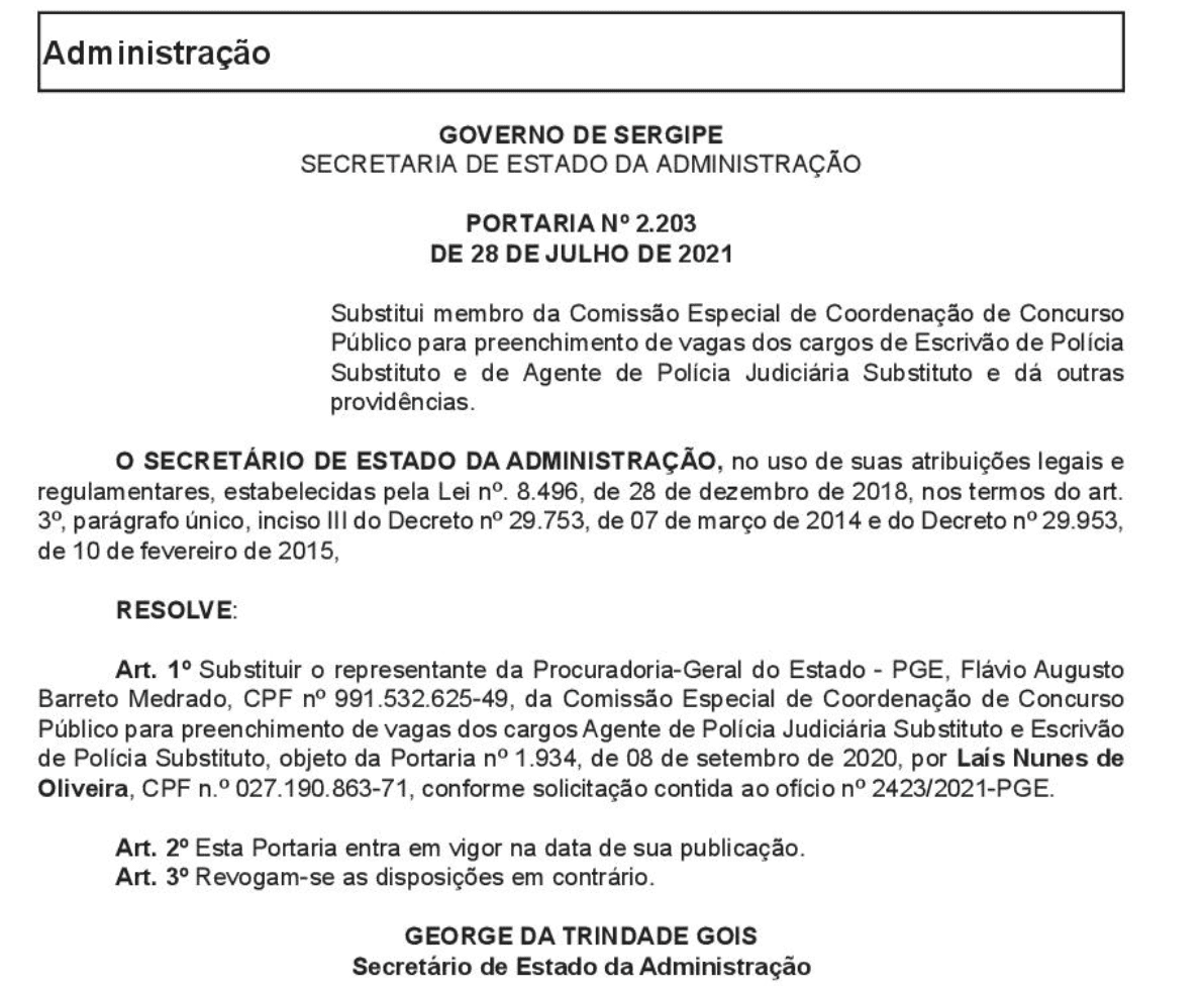 Concurso Polícia Civil SE: mudança na comissão.
