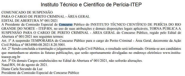 Concurso ITEP RN: suspenso temporariamente para perito criminal área geral.