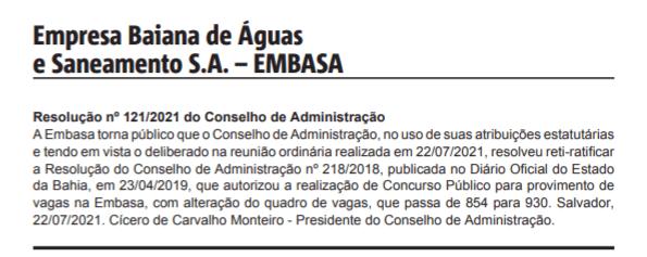 Concurso Embasa aumenta relação de vagas para novo edital.