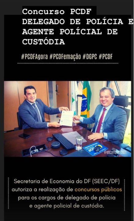 Concurso PCDF autorizado para Delegado e Agente de Polícia de Custódia