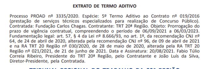 Concurso TRT SE prorroga contrato com FCC.