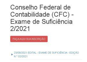 Exame CFC: página inicial de inscrição
