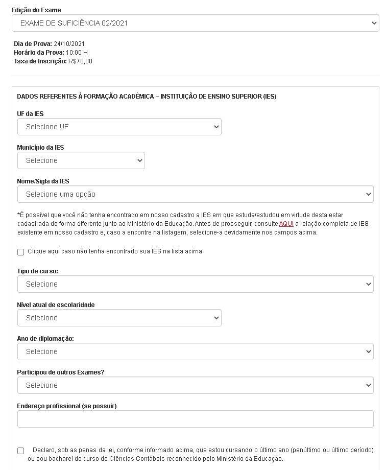 Exame CFC: parte 1 do formulário de inscrição.