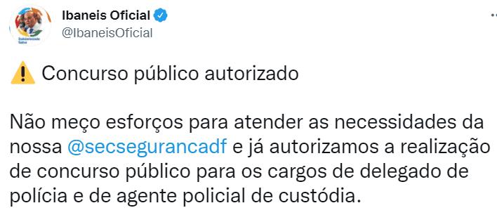 Concurso PCDF Agente de Custódia: governador informa sobre autorização do certame