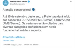 Concurso SEMEC Belém PA:
