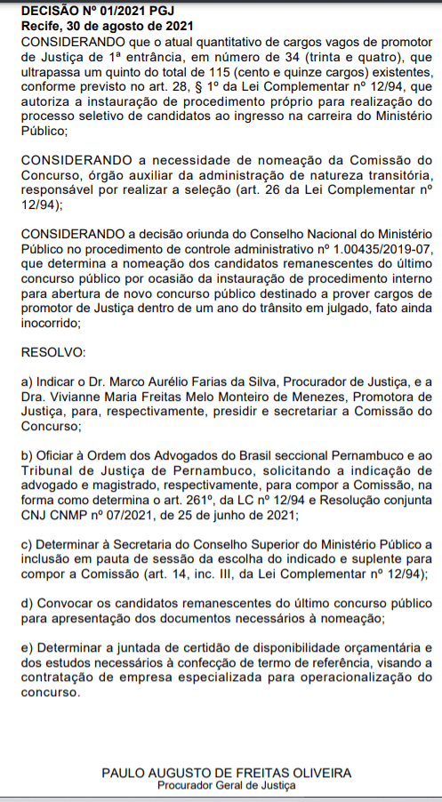 MP PE Promotor: comissão formada