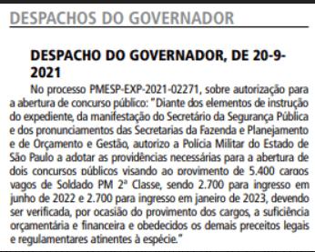 Concurso PM SP: governador autoriza novo edital.